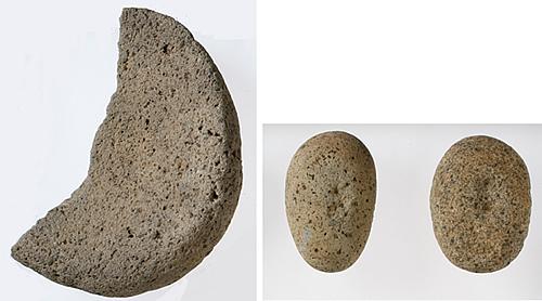 左:石皿 右:磨石